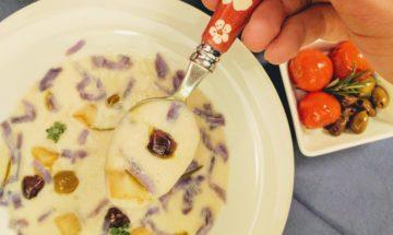 Crema di topinambur e patate viola